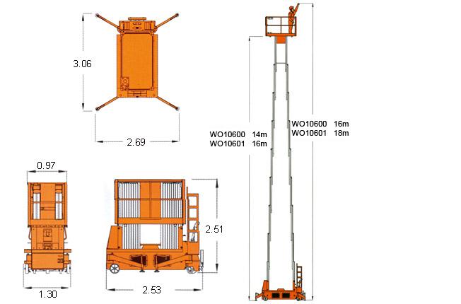 四桅自行走桅柱式高空作业
