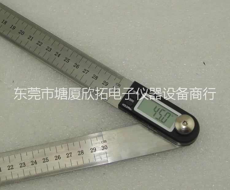 二和一360度旋转角度尺电子数显 万能量角器测角仪带钢尺 东莞万能量角器测角仪带钢尺