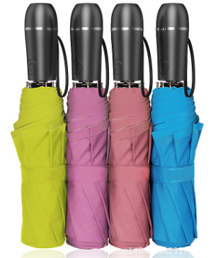 厂家批发半自动三折伞 车载安全锤割刀晴雨伞 LED照明多功能晴雨伞