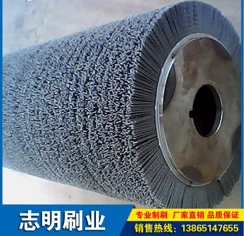 磨料丝毛刷辊厂家直销,工业抛光铜丝刷辊报价,环卫刷圆盘刷