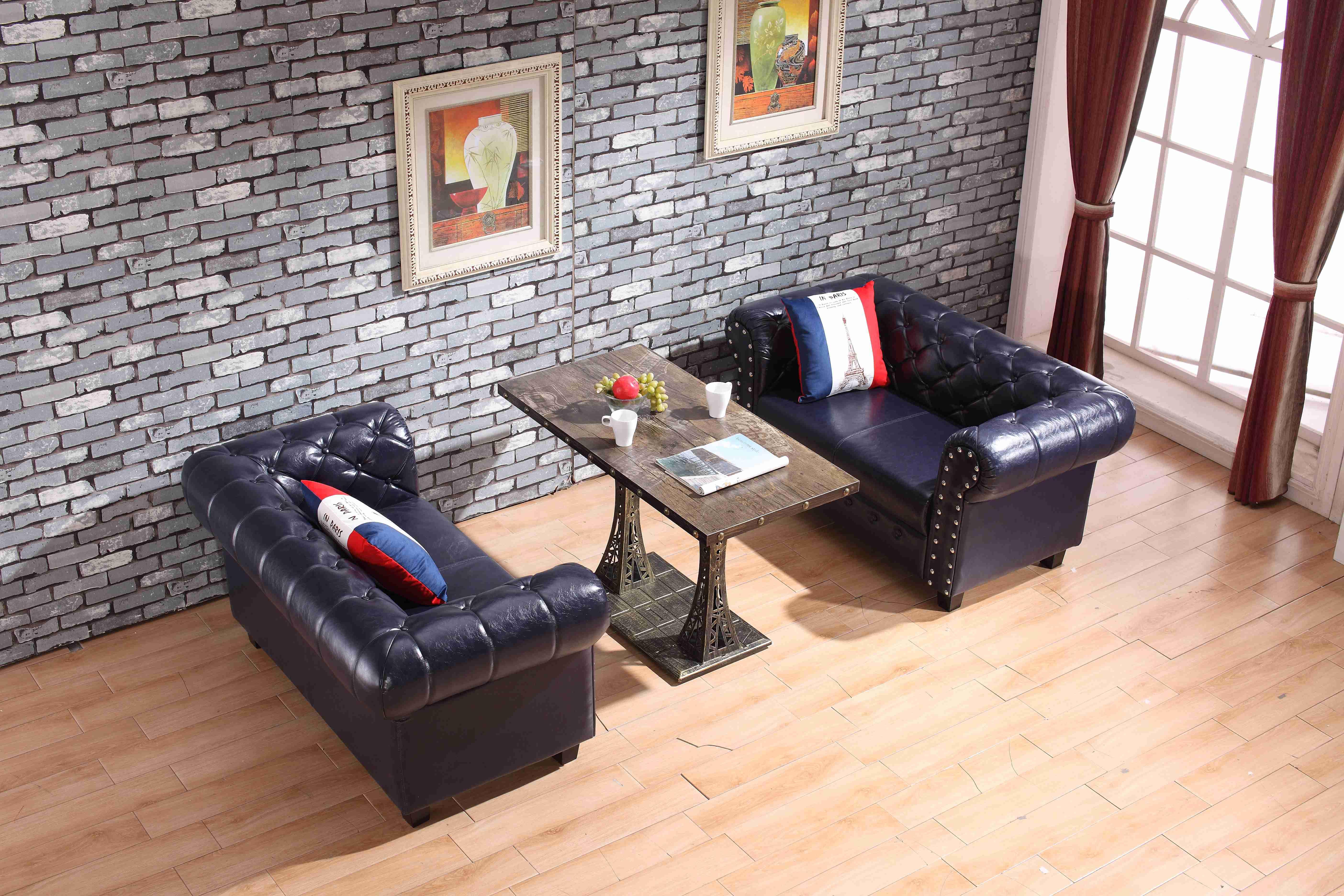 厂家美式复古沙发直销 咖啡厅美式铆钉沙发定制 沙发桌椅组合 厂家直销咖啡厅美式沙发桌椅组合