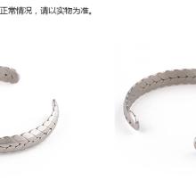 厂家直销日系纯色简单金土豪金龙骨银色高精钛钢开口麦穗钛钢手镯批发