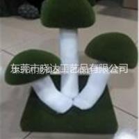 植绒蘑菇绿植工艺品 仿真植物绿雕绿植蘑菇植绒蘑菇