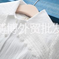 女童春款蕾丝边大披肩白衬衫时尚爆