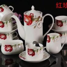 骨瓷咖啡杯碟套装,15头中式骨瓷咖啡杯碟套装 家庭办公陶瓷咖啡具套装 包邮批发
