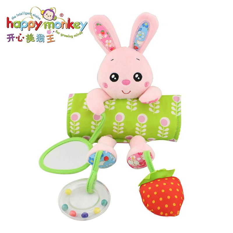 动物车吊挂饰品 - 兔兔 动物婴幼儿发音响铃毛绒玩具动物镜子手摇铃玩具