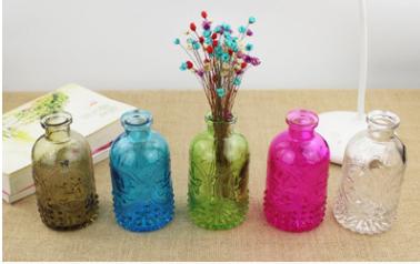 厂家直销立体雕花透明彩色玻璃花瓶精油瓶批发玻璃瓶几种色任选