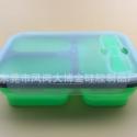 工厂大量销售食品级硅胶FDA三格折叠纯色饭盒 微波炉饭盒 中式保鲜便当饭盒
