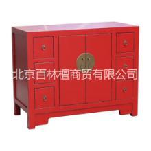 工厂直销红色婚庆榆木床头柜 中式复古储物柜边角桌 仿古家具特价批发