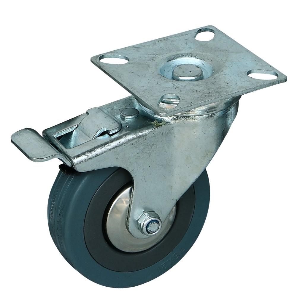 脚轮万向轮3寸灰橡胶刹车轮图片/脚轮万向轮3寸灰橡胶刹车轮样板图 (2)