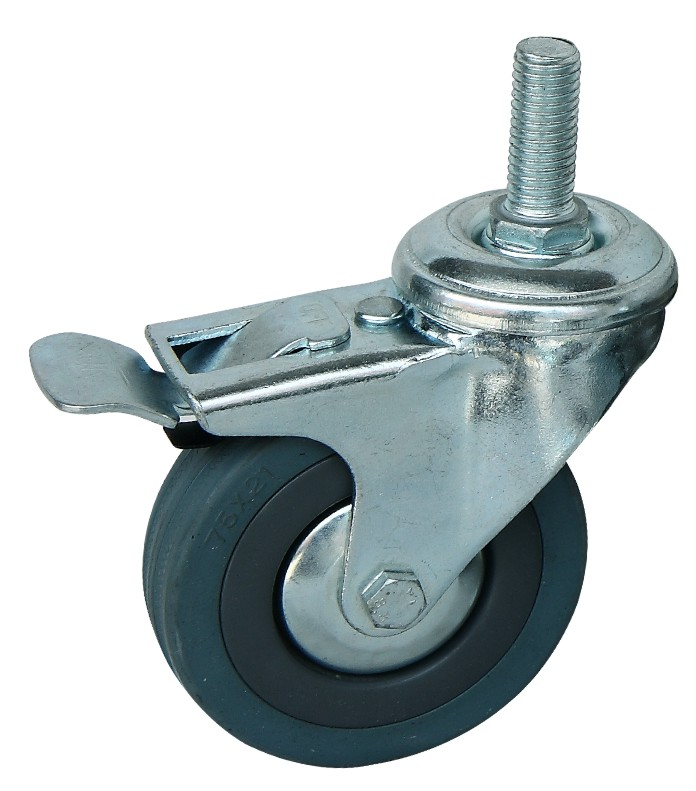 脚轮万向轮3寸灰橡胶刹车轮图片/脚轮万向轮3寸灰橡胶刹车轮样板图 (1)