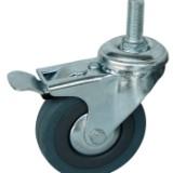 3寸灰橡胶刹车轮 3寸灰橡胶刹车轮广东厂家批发 脚轮万向轮3寸灰橡胶刹车轮