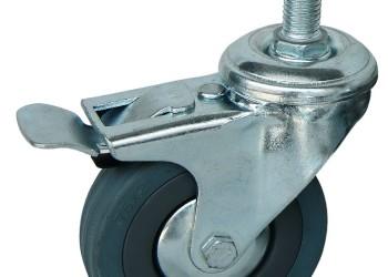 脚轮万向轮3寸灰橡胶刹车轮图片