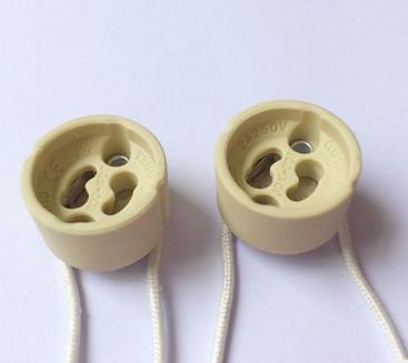 现货批发 GU10灯头 GU10陶瓷灯座 配0.1米硅胶线