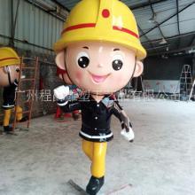 厂家批量定制玻璃钢卡通消防员雕塑彩绘树脂消防主题人物创意展览装饰摆件批发