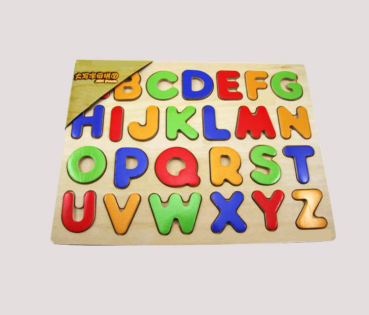供应木制字母平面拼图早教认图字母动物认识卡儿童智力玩具益智拼图