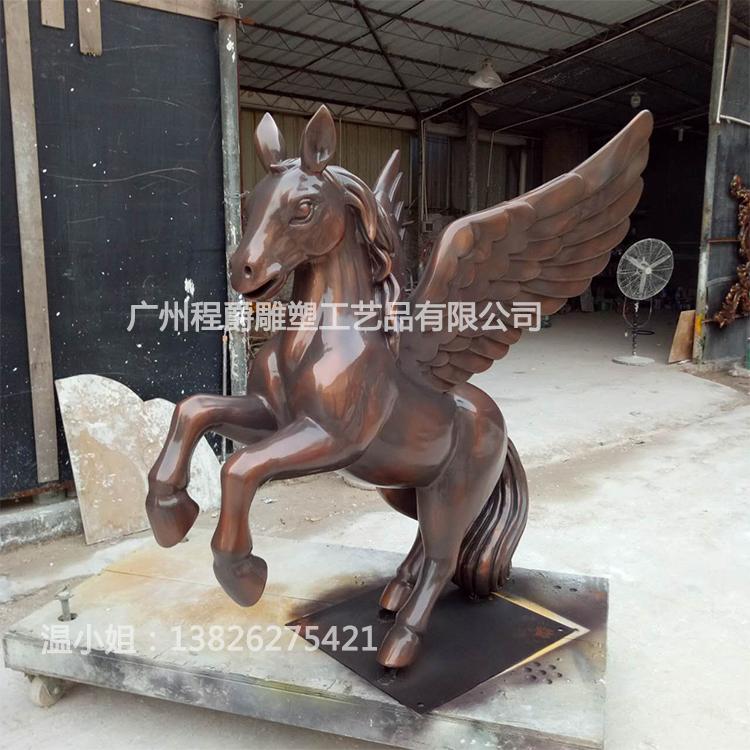 广州厂家大量生产玻璃钢仿古铜色飞马雕塑商场步行街园林景观装饰摆件