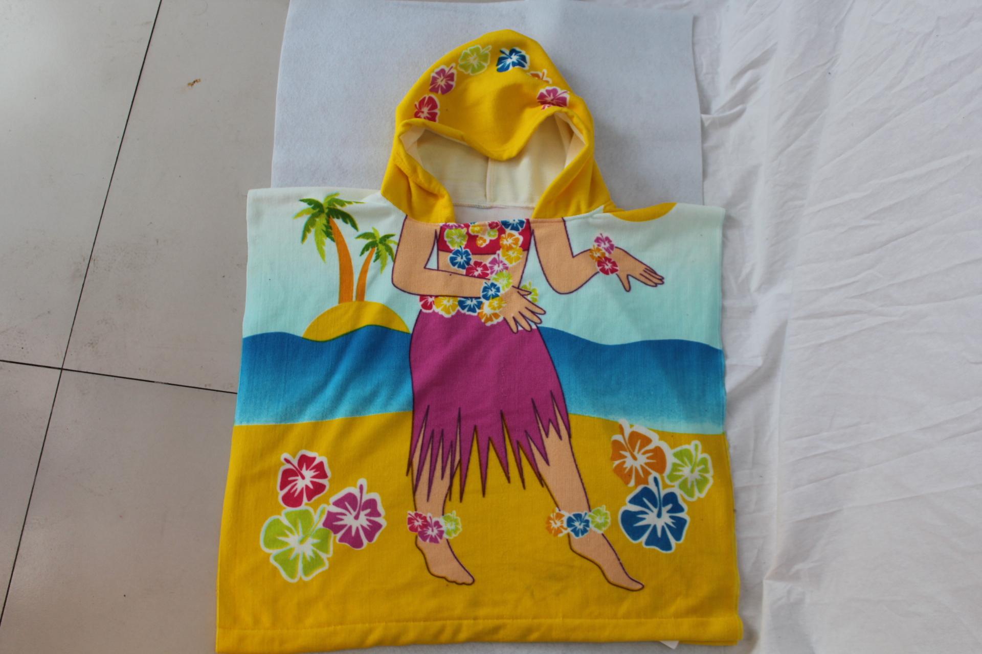 纯棉儿童百变沙滩巾可爱斗篷浴披