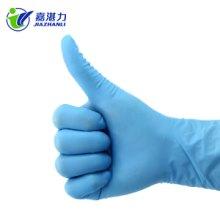 加厚一次性丁晴手套无粉防滑防酸碱食品水产蓝丁腈橡胶手套包邮蓝丁腈手套图片