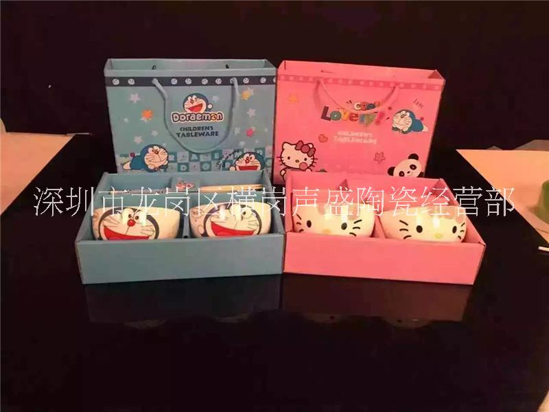 新款陶瓷碗筷餐具 儿童礼品套装 卡通碗筷2/4/6 潮州厂家 单朵卡通碗筷套装