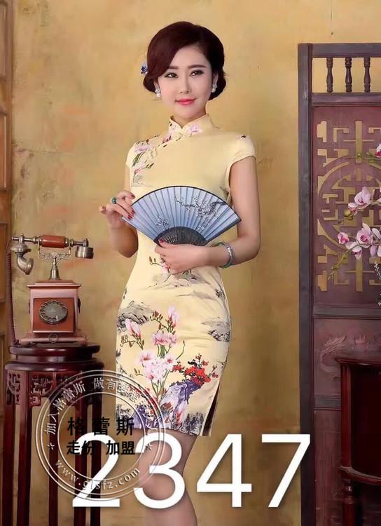 中国风短款真丝旗袍!石家庄格蕾斯