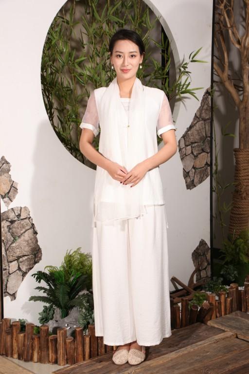 木棉道 原创手绘唐装 改良唐装 水墨国画白色上衣裤子女装 两件套16116