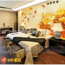 艺术玻璃客厅中堂画壁画富贵有余牡丹九鱼企业文化墙宣传墙批发