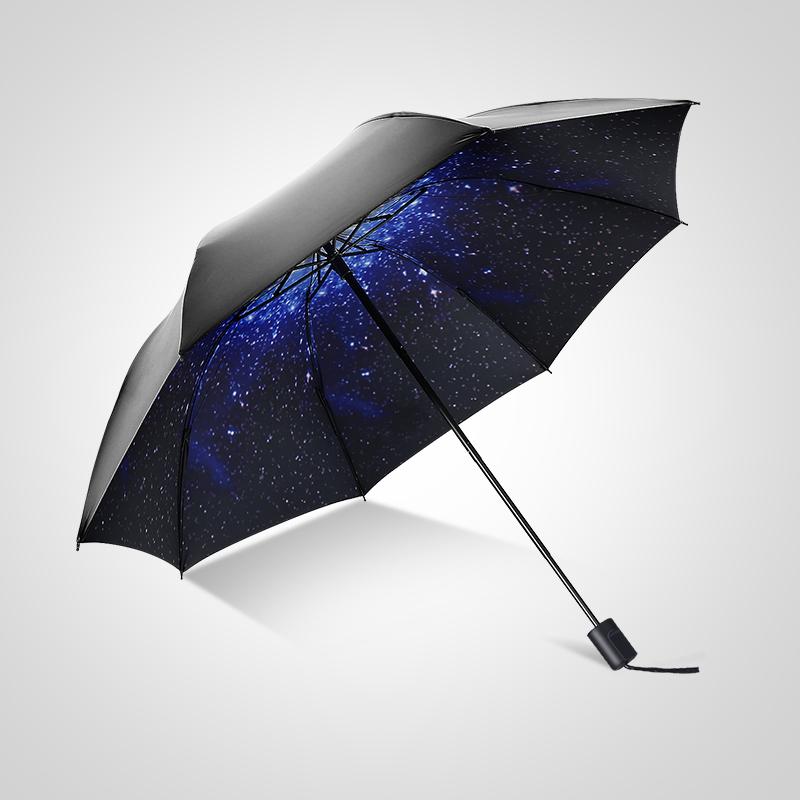 雨伞厂家直销折叠黑胶雨伞批发 防紫外线三折伞遮阳伞 小黑伞