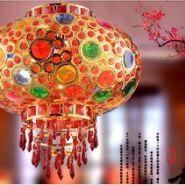 现代中式阳台大门七彩旋转灯笼吊灯图片