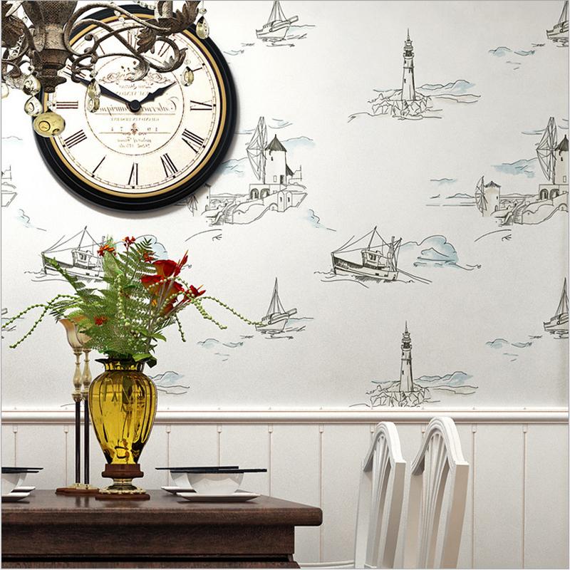 航海灯塔帆船无纺布墙纸儿童房壁纸男孩卧室客厅餐厅背景墙地中海
