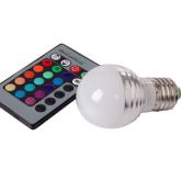 led灯泡 E27灯头 3W RGB遥控器球泡灯键遥控器球泡灯 深圳键遥控器球泡灯价格 24键遥控器球泡灯厂家直 键遥控