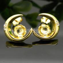 银致S925银耳环女星星月亮耳钉气质百搭饰品甜美可爱时尚珍珠耳饰