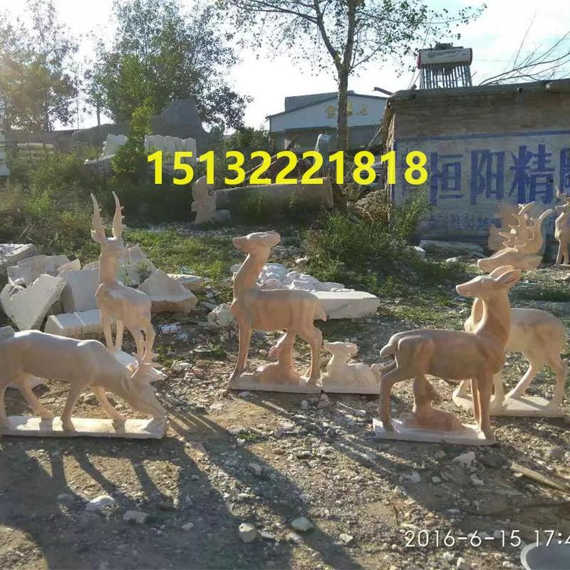 供应曲阳石雕 动物雕塑 晚霞红石雕鹿 汉白玉石雕羊