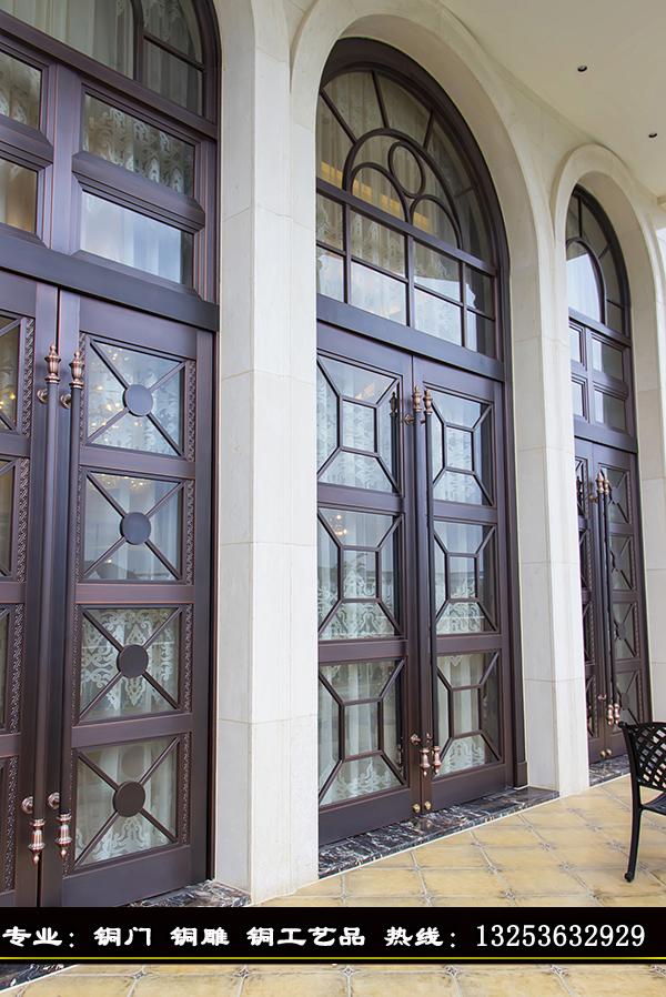 河南东皇铜门厂专业定制豪华别墅紫铜铜大门/玻璃铜门/欧式铜门