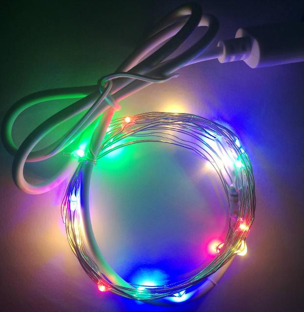 LED铜线灯串 2米20灯四彩接USB灯串