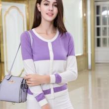 贵群羊绒衫批发厂家定制女装毛衣 牛奶丝紫白开衫 长袖图片