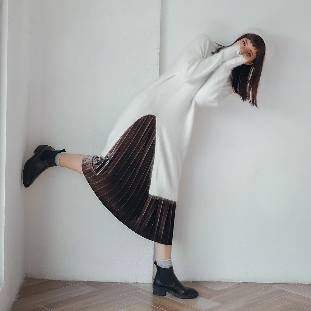 韩版大摆百褶裙