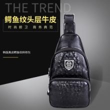 2017厂家直销新款韩版男士真皮鳄鱼纹胸休闲单肩斜挎包一件代发真皮胸包批发