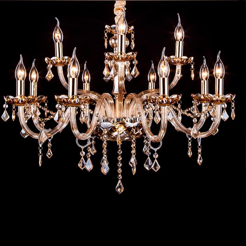 欧式蜡烛灯水晶吊灯具简约客厅灯圆形餐厅高档琥珀吸顶灯