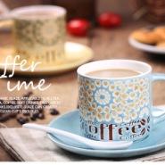 手绘雏菊陶瓷咖啡杯碟套装摆件图片