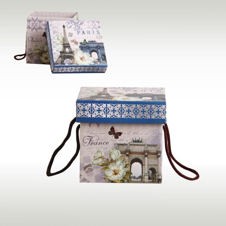 粉红猫礼品包装彩盒方型手提天地盖盒