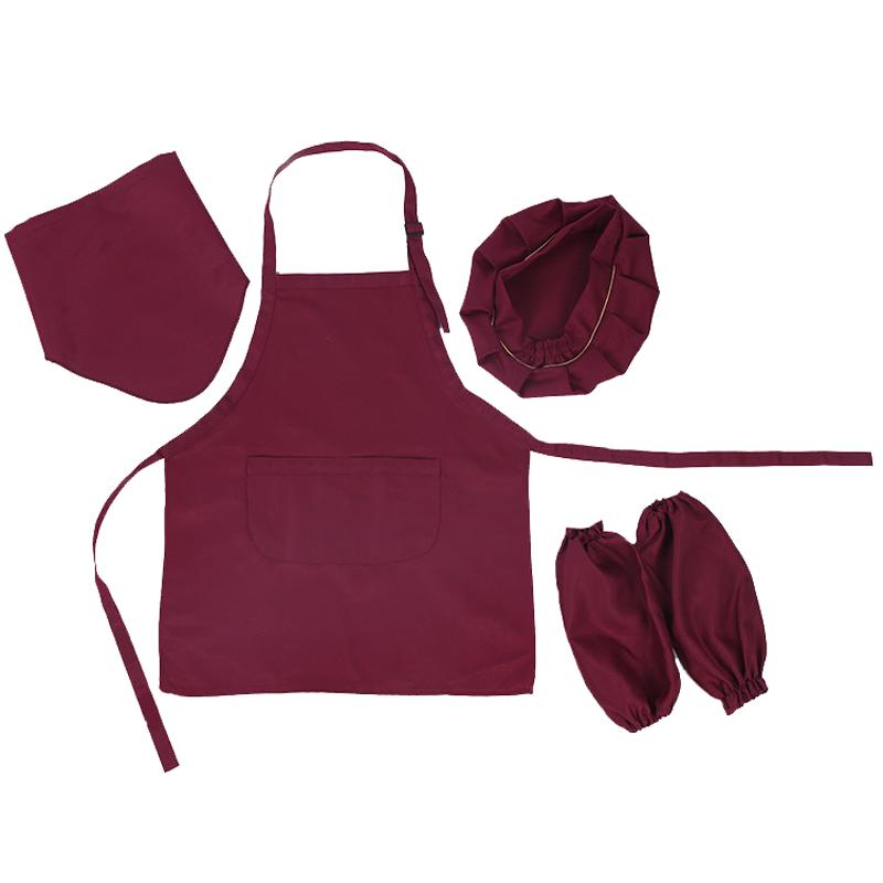 幼儿园宝宝小孩厨师服儿童画画围裙套装定制logo广告加厚袖套帽子图片