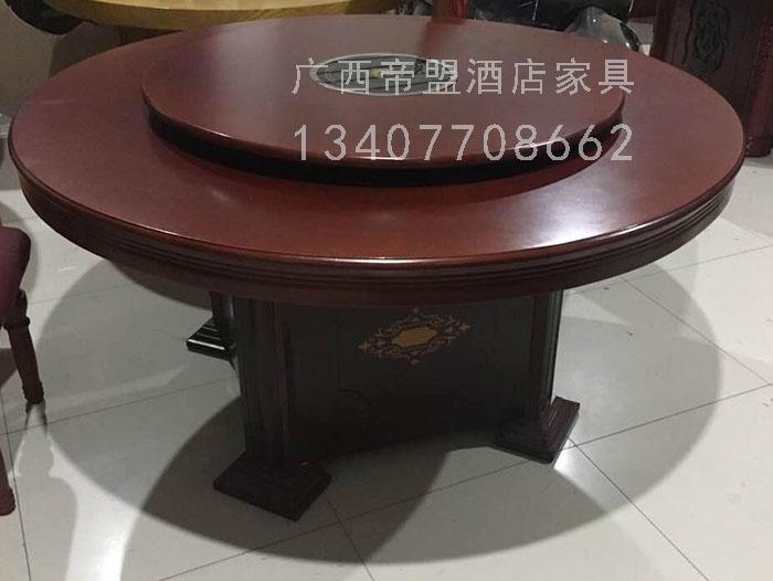 供应南宁手动旋转餐桌 简约现代酒店餐桌 实木圆桌定制