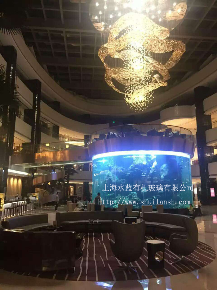 山东鱼缸厂家供应 亚克力观赏圆柱形鱼缸 高透明度有机玻璃水族箱