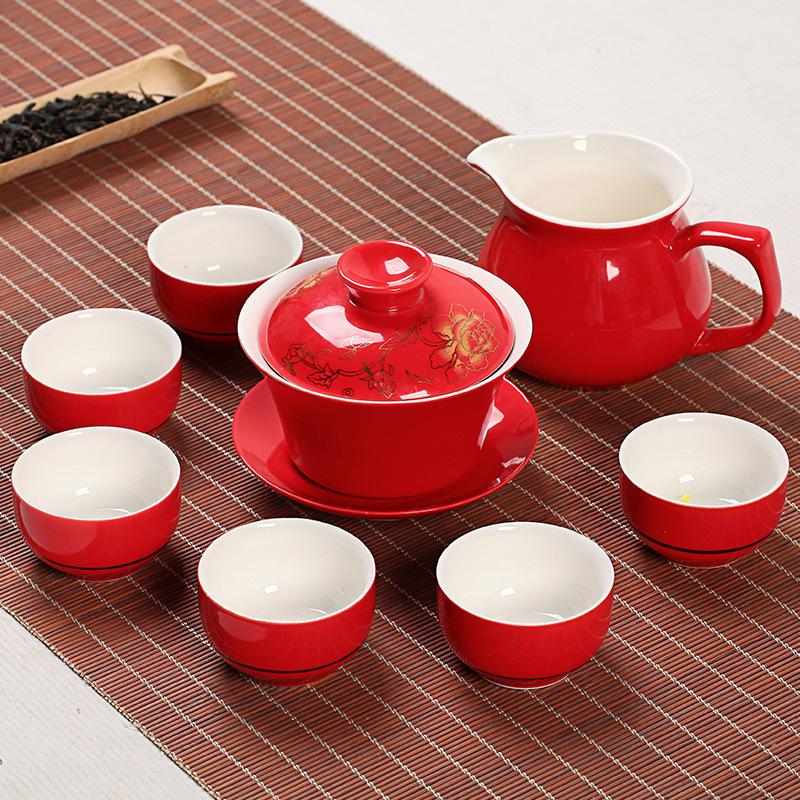 功夫茶具陶瓷盖碗礼盒套装红色婚礼喜庆茶具logo定制批发