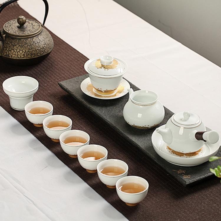 高档礼品 功夫茶具 高白侧把壶全套手工瓷镀金花面茶碗礼盒装 功夫高白茶具 功夫茶具套装