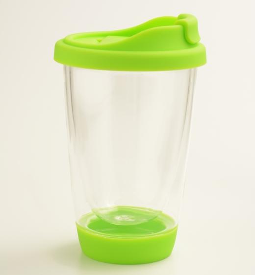 创意玻璃杯双层隔热玻璃杯带硅胶盖