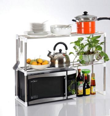 多功能不锈钢置物架 便捷双层台面置物架厨房微波炉架厂家直销