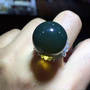 琥珀戒托银托定做活口戒指托图片