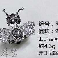 灿朗925银饰托 纯银戒指蜜蜂戒指空托 开口9-10厂家直销